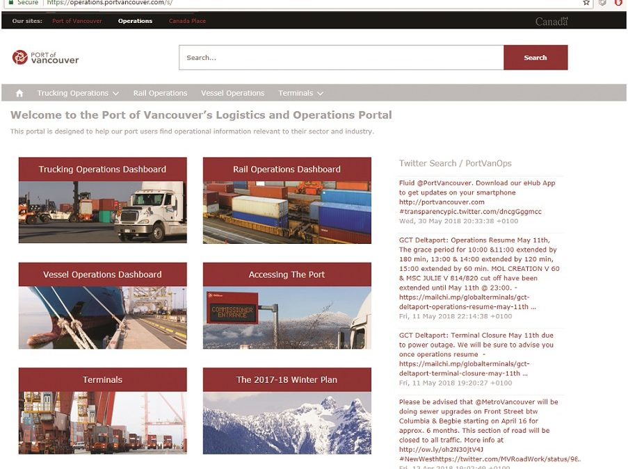 Port of Vancouver – Building capacity through efficiency: Supply chain visibility and transparency